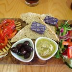 Grilled Halloumi and Hummus with Olives,Roasted Peppers Salad and Bread