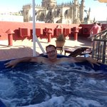 enjoying the jacuzzi with a great view at hotel bellas artes