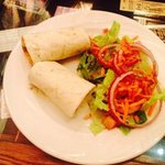 thai chicken wrap and house salad