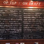 Chalk board of beers on tap