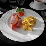 Yummy scrambled eggs and Scotch bacon