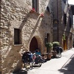 Relaxing in the doorway after riding from Spoleto.