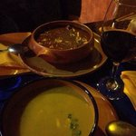 Pumpkin carrot soup, peruvian beef stew w/ fine house wine