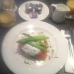 Salmon, poached egg and asparagus on brioche for breakfast - divine!