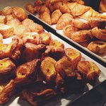 Pastries from breakfast buffet