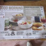 Breakfast menu pop 150metres to Macdonalds