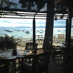 Plexiglass protects diners from too much sun and wind.