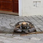 One of many statues in old town Bratislava (1/2)