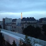 View of the Eiffel Tower from the 7th floor hotel room.