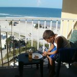 enjoying the Beautiful Fl. weather from balcony while having lunch