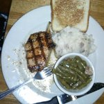 this was my girlfriends plate she had the pork chops and it was very good little on the tired si