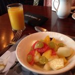 Delicious , fresh fruit salad as part of the breakfast buffet ...