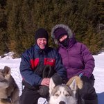 Lunch break and photo bomb by sled dog Summer