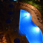 The adult pool at night, from our eighth floor room