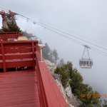 View of tram descending from atop Sandia Peak
