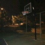 Basketball rim hanging forward
