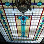 Stain Glass ceiling over the restaurant and  2nd floor lobby near Library