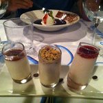 "desert:"" 3 different Panna cotta´s"" and ""warm chokolatesoup with vanillaice"