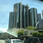 Westin Hotel's towers seen from our car
