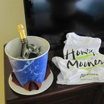 Champagne and T-shirts for the honeymoon