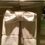 Nicely folded towels in the bathroom