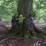 Children romp around tree during a personal tour of Luckley Farm estate courtesy of the Propriet