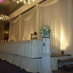 Banquet room set up for reception