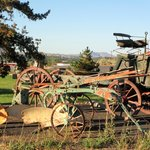 Antique agricultural instruments on the grounds of the hotel