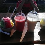 shave ice from Shave Ice Paradise, smoothies are from next door Hanalei Roasters!