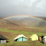 15th Aug'14: Lovely rainbow in the background. Parasol Camp Chandratal, Lahaul, HP.