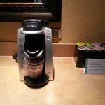 Keurig coffee machine with delicious coffee choices - complimentary!
