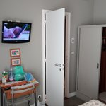 TV and door to bathroom