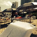Beach lounge cabana 200$ for guest. Wait staff on beach taking orders drinks and great snacks.