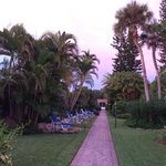 Walkway from beach area back to rooms. Lovely garden setting. Quiet w/ a waterfall pond just out
