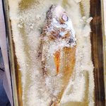 Red Seabream in salt crust, amazing! The fish was caught the same morning.