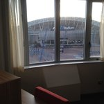 view of ANZ stadium from window of sitting area