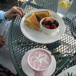 Ultimate Grilled Cheese with fruit cup and chilled cherry soup