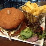 Yummy lamb burger and fries.