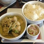 Thai green curry with chicken. Spicy but delicious!