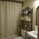 Bathroom--ample space for toilertries on rack