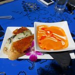 Roasted Panini bread with melted cheese and tomato bisque