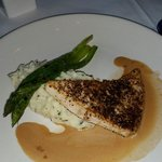 Swordfish with goat cheese mashed potatoes,  roasted asparagus & cognac sauce. Delicious goodnes