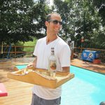 Yuval, serving us shots by the pool. Couldn't ask for a better host!