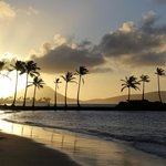 Sunrise from the beach at the Kahala Hotel