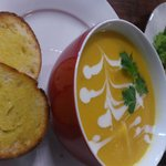 Pumpkin, lime and chilli soup with coconut cream, Beef and Mushroom Pie