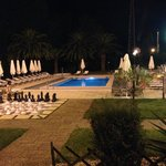 Pool area at night from Room