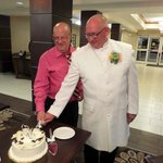 Reception cake cutting