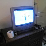 the TV in the double-bedded room