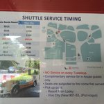 Shuttle bus service schedule