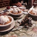 Peach cobbler, ice cream & some chocolate thing.